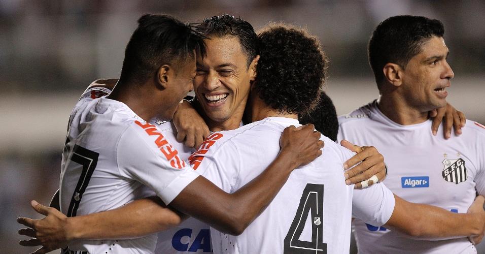 Jogadores do Santos comemoram gol de Ricardo Oliveira contra o Vasco pelo Campeonato Brasileiro