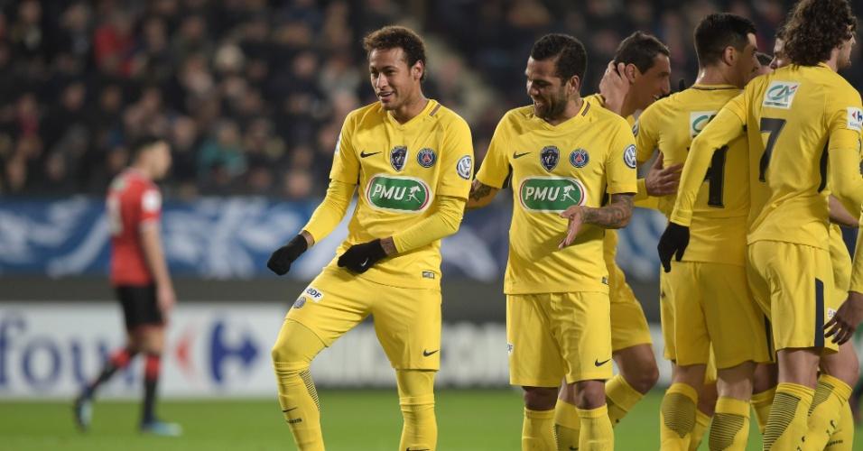 Neymar comemora gol contra o Rennes