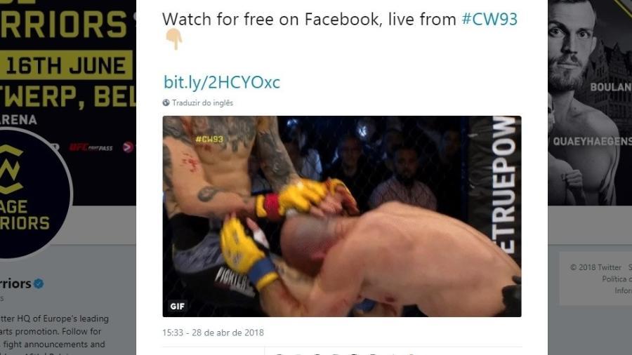 Joelhada no MMA deixa corte profunda na testa de lutador - Reprodução