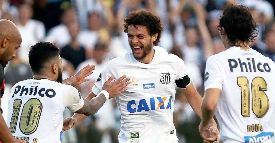 Jogadores do Santos comemoram gol de Victor Ferraz contra o Sport 43ff8ee63d13b