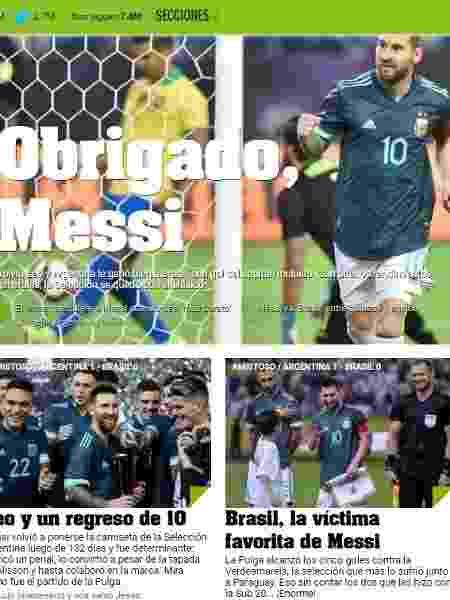 """Jornal argentino """"Olé"""" destaca Brasil como vítima favorita de Messi - Reprodução/Olé"""