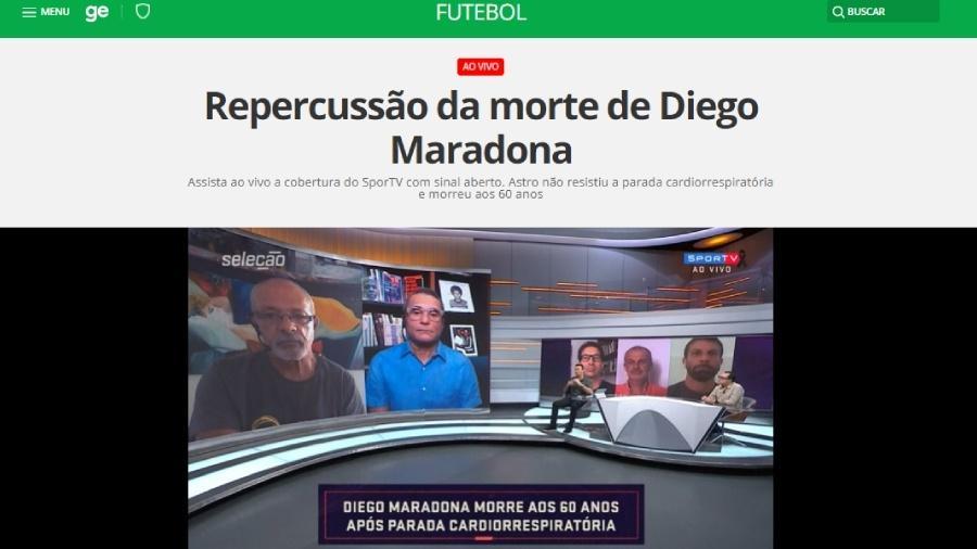 SporTV deixa sinal aberto para cobertura especial da morte de maradona
