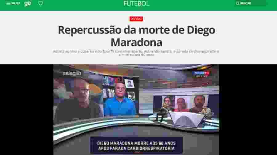 O canal faz uma cobertura especial sobre a morte do ídolo argentino - Reprodução/SporTV