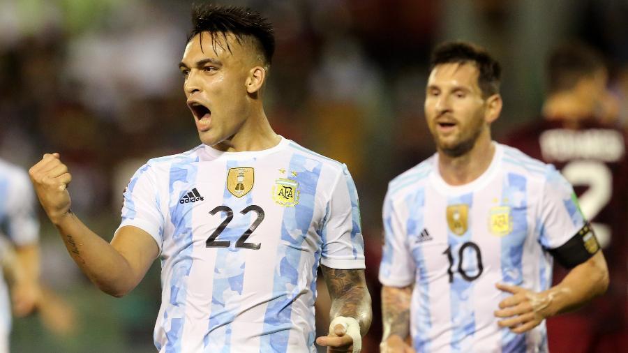 Lautaro comemora gol da Argentina sobre a Venezuela nas Eliminatórias  -  REUTERS/Edilzon Gamez