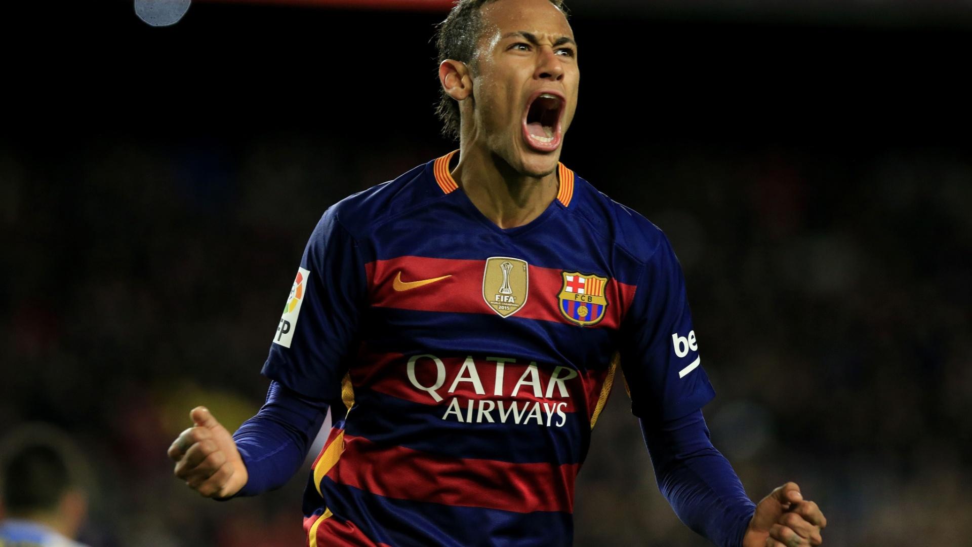 Neymar celebra após marcar o quarto gol do Barcelona contra o Espanyol pela Copa do Rei