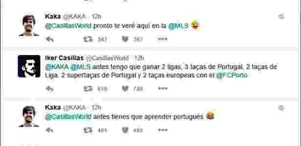 Conversa de Kaká e Casillas no Twitter - Reprodução - Reprodução