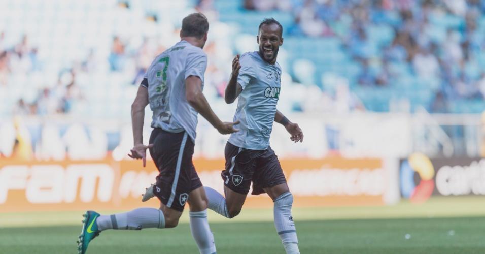 Bruno Silva comemora gol do Botafogo diante do Grêmio no Campeonato Brasileiro