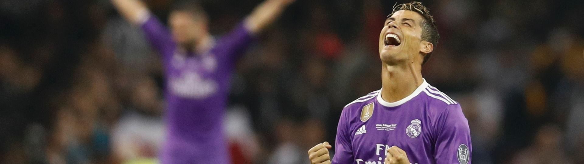 Cristiano Ronaldo comemora ao apito final da vitória sobre a Juventus na final da Champions