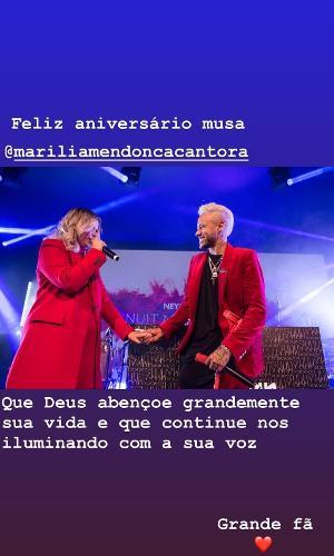 Neymar desejou feliz aniversário para Marília Mendonça