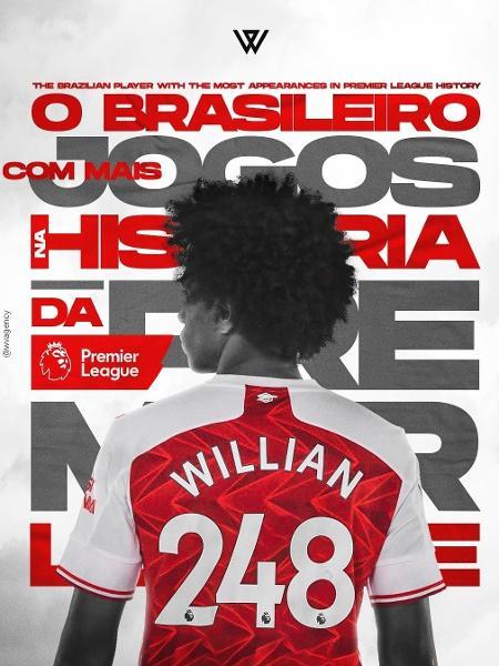 Willian celebrou marca na Premier League - Reprodução