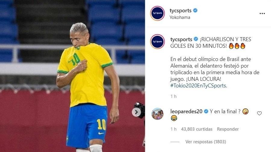 Paredes questionou atuação do atacante no duelo entre Brasil e Argentina e recebeu apoio de Di María e Lo Celso - Reprodução/Instagram