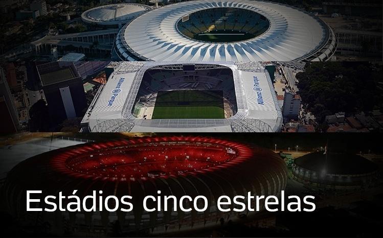 Montagem com estádios cinco estrelas do Brasil