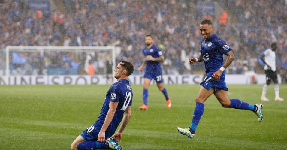 King comemora segundo gol do Leicester contra o Everton