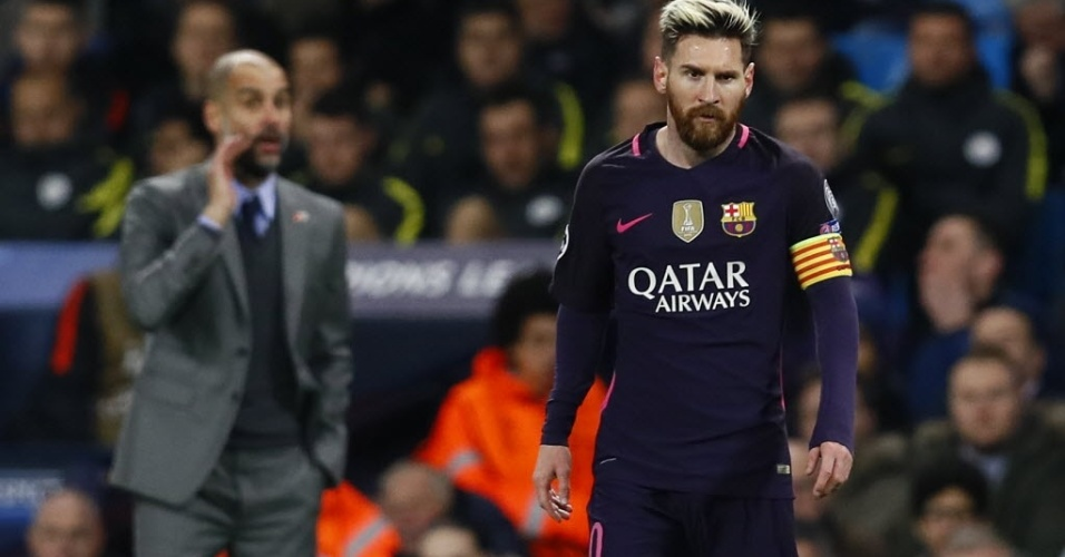 Lionel Messi em ação na partida do Barcelona contra o Manchester City, pela Liga dos Campeões