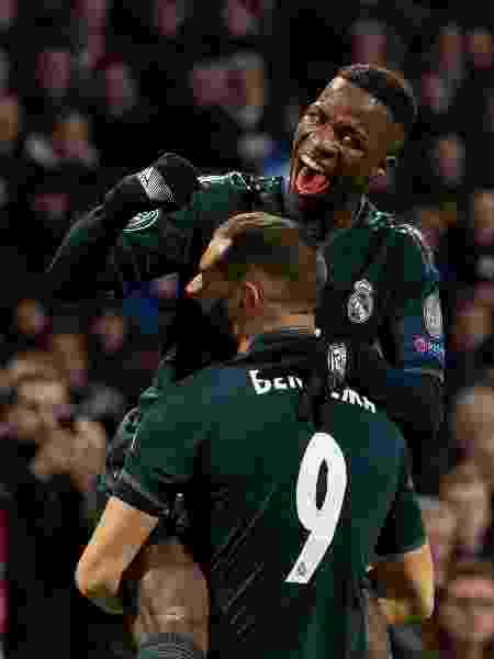Vinicius Junior comemora gol do Real Madrid contra o Ajax - TF-Images/TF-Images via Getty Images