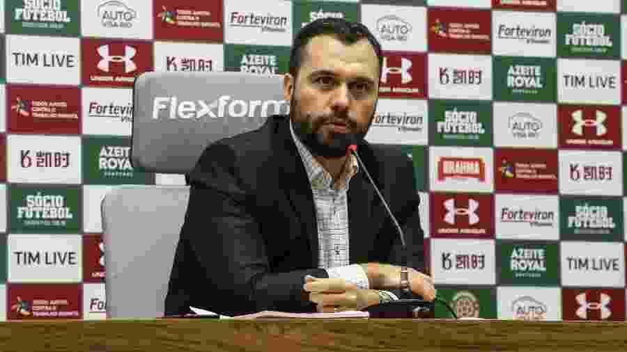 Presidente do Fluminense, Mário Bittencourt concede entrevista coletiva no CT tricolor - Lucas Mercon / Fluminense