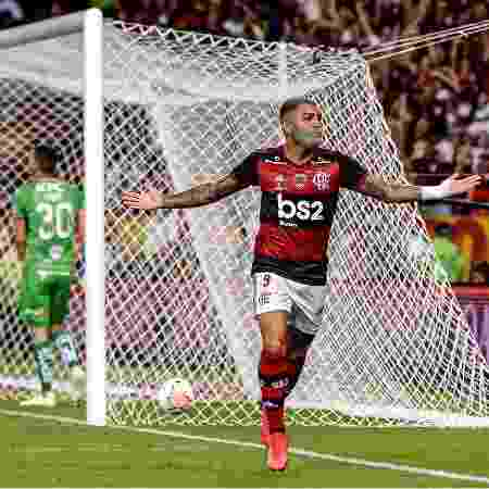Gabigol, atacante do Flamengo, celebra gol marcado contra o Independiente del Valle - Marcelo Cortes / Flamengo