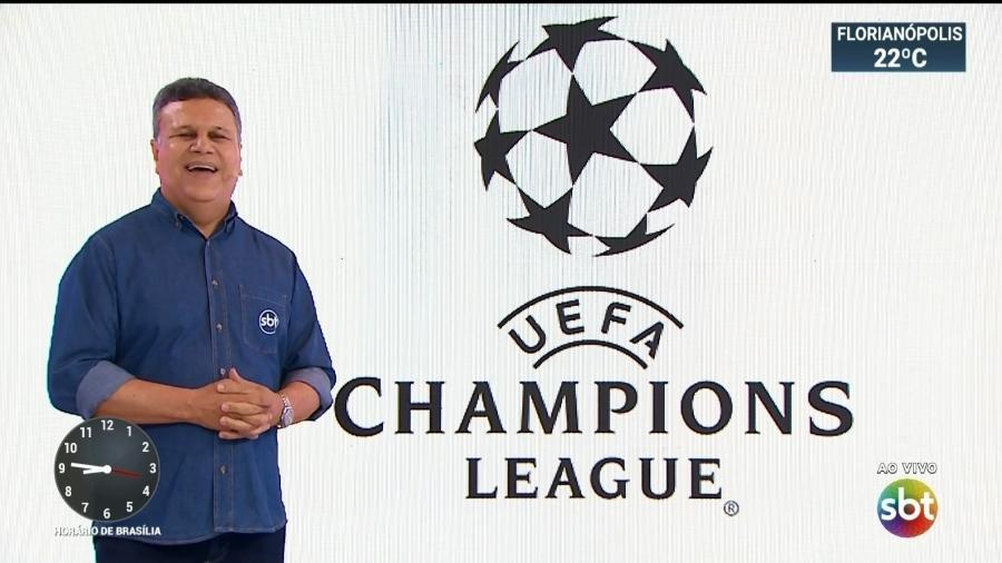 Téo José anunciando os direitos de transmissão da Liga dos Campeões no SBT: Superliga Europeia pode fazer competição europeia ficar desvalorizada na TV - Reprodução/SBT