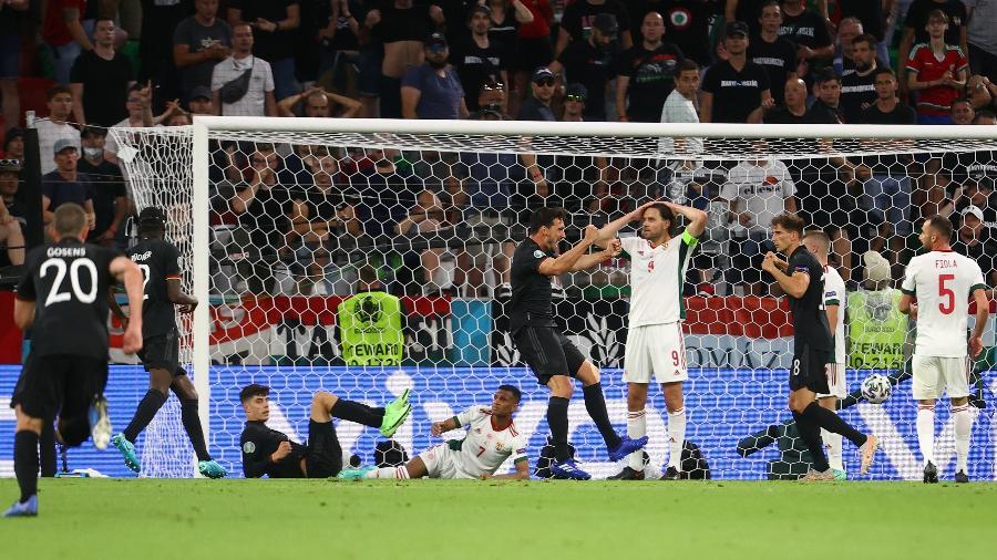 Alemanha comemora gol na partida contra a Hungria pela Eurocopa - Pool via REUTERS