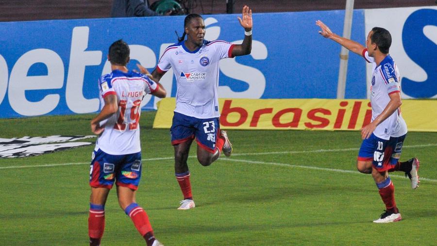 Rodallega comemora gol do Bahia contra o Fortaleza pelo Brasileirão - Jhony Pinho/AGIF