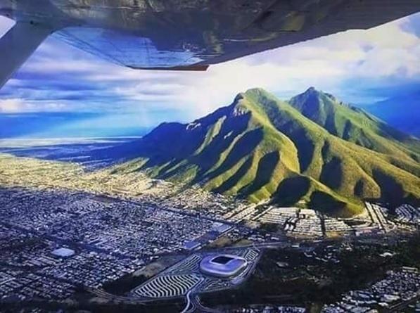Vista aérea do estádio BBVA Bancomer, na região metropolitana de Monterrey, no México
