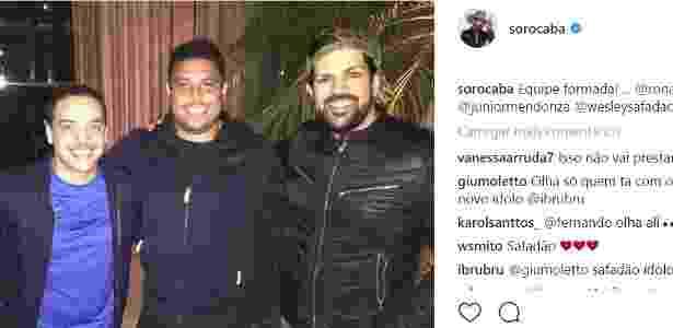 Sorocaba posa para foto ao lado de Ronaldo e Wesley safadão - Reprodução Instagram