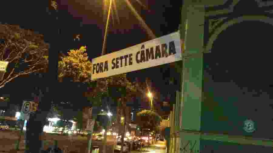 Sette Câmara, presidente do Atlético-MG, é alvo de protesto da torcida - Reprodução