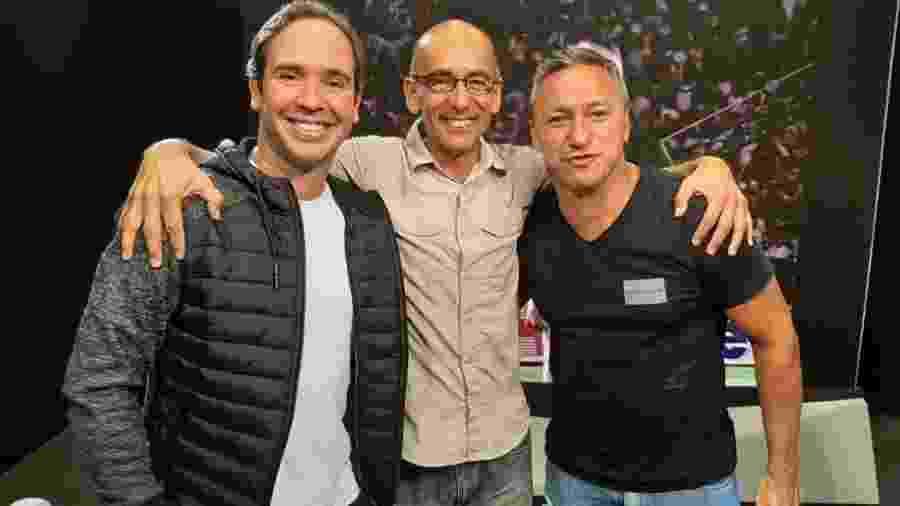 Caio Ribeiro, Régis Rösing e Paulo Nunes em gravação do programa Esporte Espetacular - Divulgação