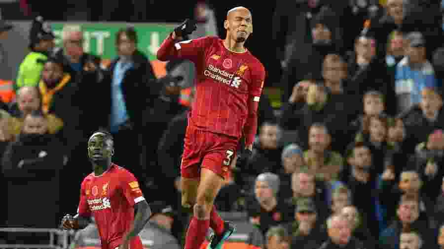 Fabinho marcou o primeiro gol do Liverpool na partida contra o City - Paul Ellis / AFP