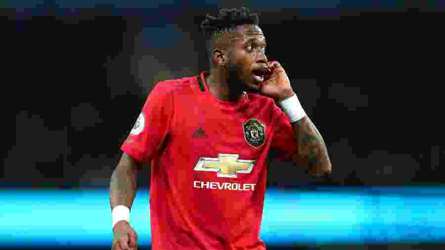 Fred gesticula durante jogo entre Manchester City e Manchester United - Chloe Knott - Danehouse/Getty Images