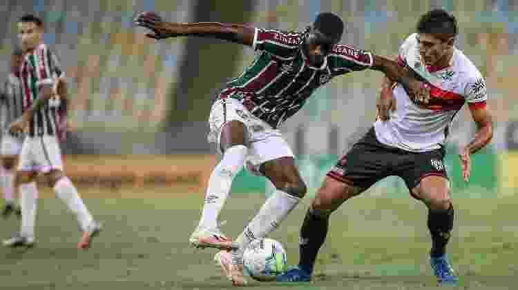 Apesar de improvisado, Luiz Henrique foi bem pelo Fluminense contra o Atlético-GO - Lucas Mercon/Fluminense FC - Lucas Mercon/Fluminense FC