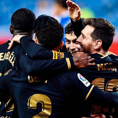 Jogadores do Barcelona comemoram gol na vitória sobre a Real Sociedad - Reprodução/Instagram