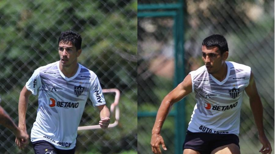 Ex-rivais por River Plate e Boca Juniors, Nacho Fernández e Junior Alonso agora estão do mesmo lado pelo Galo - Pedro Souza/Atlético-MG