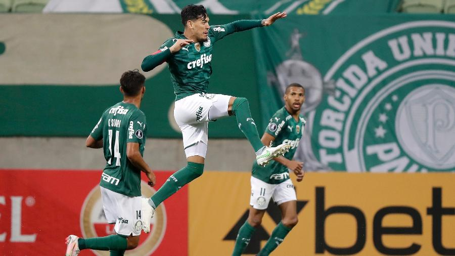Gustavo Gómez comemora gol do Palmeiras contra o Universitario na Libertadores - Andre Penner - Pool/Getty Images
