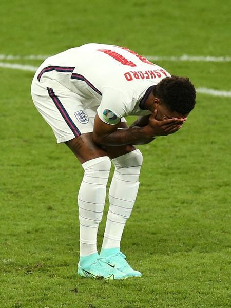 Marcus Rashford lamenta pênalti perdido na final da Eurocopa -  Alex Morton - UEFA/UEFA via Getty Images