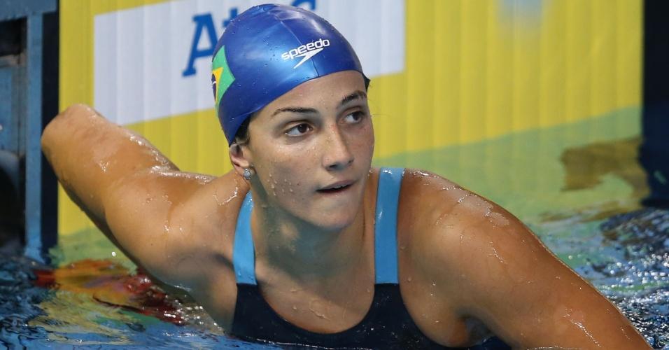 Gabrielle Roncatto confere seu tempo na prova dos 200m medley. Brasileira se classificou em oitavo para a final