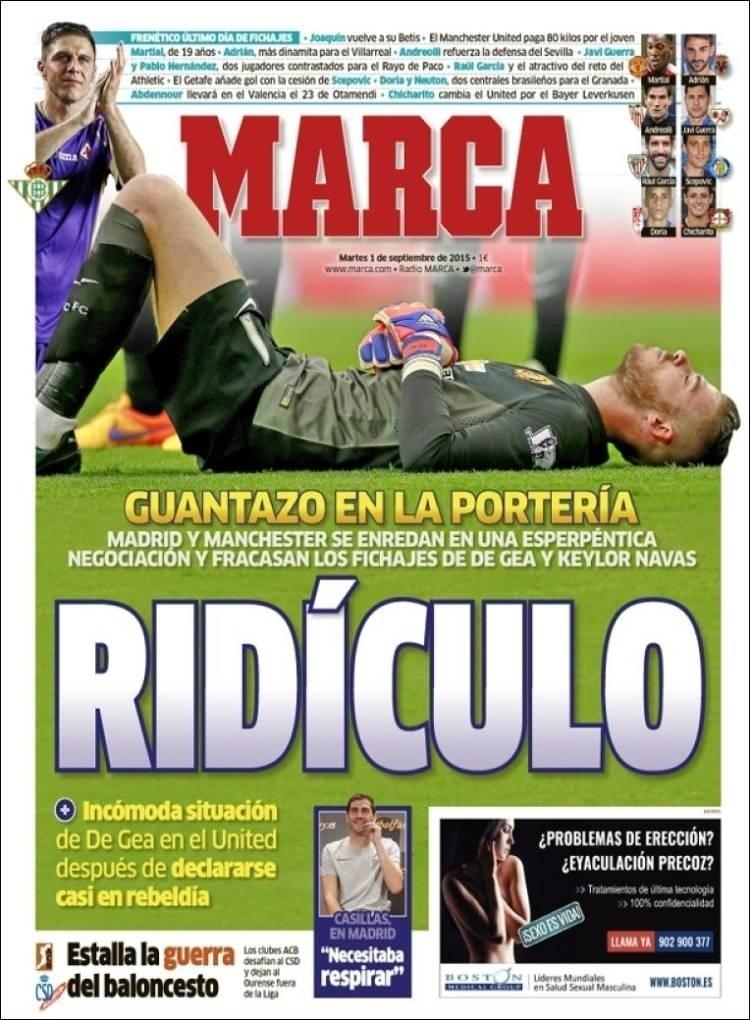 Marca (Madri, Espanha): 'Ridículo: Real Madrid e Manchester United articulam negociação e fracassam nas contratações de David De Gea e Keylor Navas'