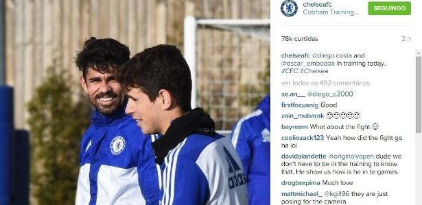 A foto tirada pelo Chelsea e divulgada após atrito entre os dois jogadores
