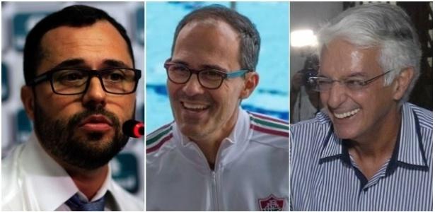 Mário Bittencourt, Pedro Abad e Celso Barros: candidatos à presidência do Fluminense - Montagem