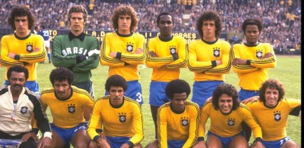 Seleção brasileira antes de jogo contra Itália, na decisão do 3º lugar da Copa de 1978