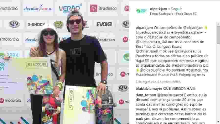 A polêmica foto com os vencedores Yndiara Asp e Pedro Barros - Reprodução/Instagram