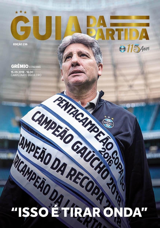 Capa de guia produzido pelo Grêmio com Renato Gaúcho provoca o Inter