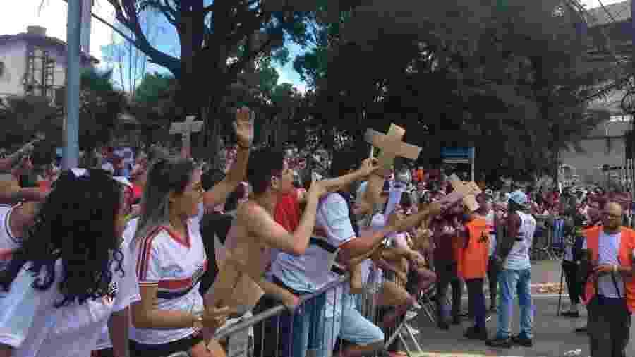 Protesto aconteceu antes da partida contra o Red Bull Brasil - Bruno Grossi/UOL
