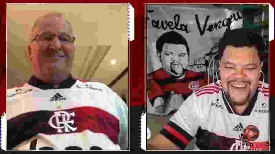 Zico e Babu fizeram participação ao vivo no canal do Flamengo - Reprodução