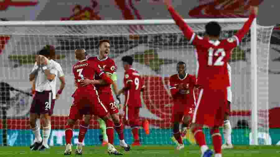 Diogo Jota comemora gol do Liverpool contra o Arsenal - Jason Cairnduff - Pool/Getty Images