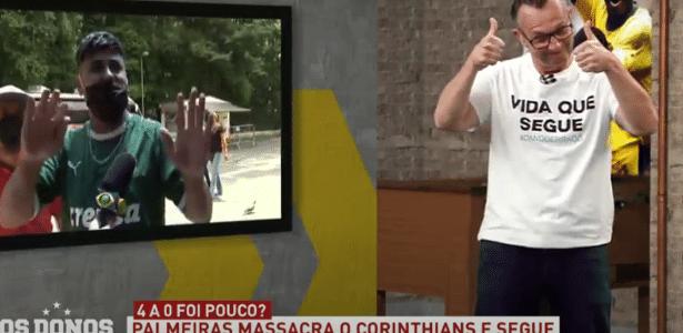 Torcedor do Palmeiras grita 'chupa, Neto' durante entrevista ao vivo