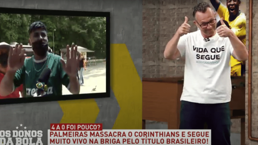 """Torcedor palmeirense gritou: """"Chupa, Neto!"""" ao vivo - Reprodução/TV Band"""