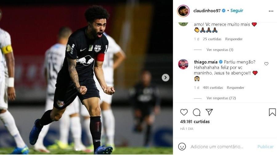 Thiago Maia mandou mensagem para Claudinho no Instagram - Reprodução