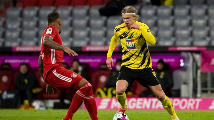 Erling Haaland fez dois gols pelo Borussia Dortmund contra o Bayern de Munique - Alexandre Simoes/Borussia Dortmund via Getty Images