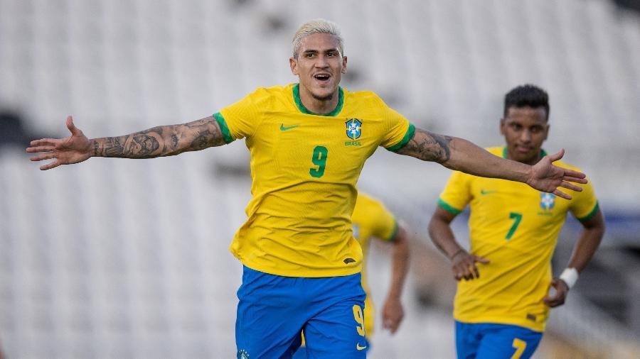 Pedro comemora gol pela seleção olímpica brasileira - Ricardo Nogueira/CBF